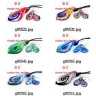 g805m37 Lady Leaf Dichroic Murano Lampwork Glass Pendant Necklace Earrings Set