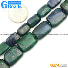 "Lapis Lazuli Malachite Gemstone Rectangle Beads For Jewelry Making Strand 15"" GB"