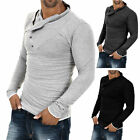 Mens Stylish Muscle Shirts V Neck Slim Fit Long Sleeve Casual Polo T-Shirt Tee