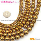 "Round Smooth Gold Hematite  Jewelry Making Gemstone Loose Beads15"" Seed _Beauty"