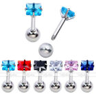"""1x 16G 1/4"""" Steel 4mm CZ Square Barbell Tragus Cartilage Helix Ear Stud Earrings"""