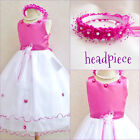Gorgeous Fuchsia hot pink wedding flower girl party dress size 2 4 6 8 10 12