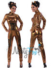 Sexy Bronze Fetish Bodysuit Catsuit Womens Halloween Costume,Ears S-2XL