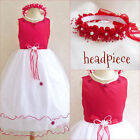 Gorgeous Red wedding pagean ttulle flower girl party dress size 2 4 6 8 10 12