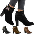 NEW WOMENS LADIES ANKLE GOLDEN BUCKLE ZIP WORK OFFICE BOOTS SHOES SIZES 3-8 UK