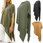 Ladies Asymmetric Side Slit Top Short Sleeves Baggy Batwing T-shirt Women Blouse