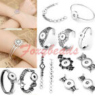 Fashion Retro Charms Snap Bangle Bracelet Fit Buttons Buckle Beads Jewelry Gift