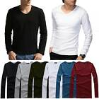 Fashion Men Long Sleeve Basic Tee Casual T-Shirt GYM Sports Tee V-Neck Tops New