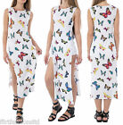 Womens Butterfly Print Side Slit Tunic Short Sleeve Long Top Ladies Casual Cute