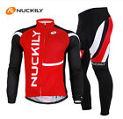 Men Bicycle Long Sleeve Cycling Jersey and Pant Bike Clothing Suit Red M-XXL