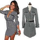 Sexy Women's 3/4 Sleeve Houndstooth Business Office Career Party Club Dress 31DW