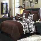 Bliss Chocolate 8PC Comforter Set, Includes Comforter, Skirt, Shams, Pillows