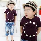 Wine Red Chic Kids Boy Baby Cute Tee Shirt Star Printed Tops Child Clothing F98