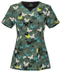 Butterfly Camo Cherokee Infinity with Certainty Round Neck Scrub Top 2629A BUCA