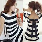2015 Summer Sexy Women Short Sleeve Black White Striped Casual Short Mini Dress