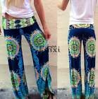 Women Floral Tribal Wide Leg Long Bohemian Loose Trousers Beach Pants TXEN