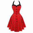 Womens Retro Vintage 50s Style Red Eye Ball Rockabilly Prom Party Dress