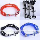3 Colors 2-Row Faceted Crystal Glass Cross Beads Bracelet Wristband Stretchy