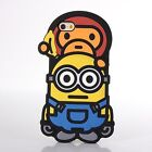NEW BATHING APE X MINIONS Silicone Baby Milo Case for iPhone 6 6s 6 Plus