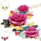 Crystal Plants Flowers Cluster Golden Chain Chunky Bib Collar Pendant Necklace
