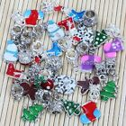 Multicolor Enamel Christmas Tree Gift Box Crystal Charm Bead Pendant Finding