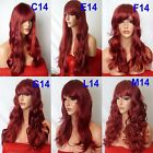BURGUNDY RED Curly Layered Full Wig Ladies Fashion Fancy dress wigs