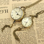 Retro Steampunk Glass Ball Pocket Watch Necklace Pendant Chain Gifts Women Men's