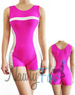Pink,White Stripe Gymnastics Sleeveless Scoop Neck Short Unitard Biketard S-2XL
