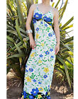 White Floral Blue Burst Summer Long Maxi Dress S/M,M/L
