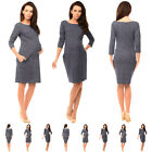 Purpless Maternity Denim Look Pregnancy Tulip Dress Tunic with Pockets 6100