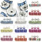 100pcs Rhinestones Czech Crystal Silver Rondelle Spacer Beads 5,6,8,10,12mm