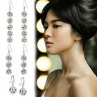 Women Round CZ Silver Dangle Sapphire Hook Stud Earrings Zriconia Shiny Wedding