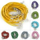 10pcs 12 Colors Leather Cord Jewelry Making Necklace Lobster 2x510mm Clasps