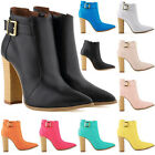 Womens Ladies High Heels Casual Ankle Boots Matt Leather Shoes US Size 4-11