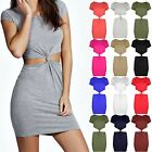 Womens Knot Front Back Bodycon Dresses Ladies Cap Sleeve Side Cut Out Mini Dress