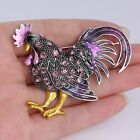 Fashion Christmas Gift Party Retro Cock Rooster Brooch Pins Crystal Animal Women