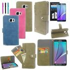 Card Slot Stand Wallet Leather Case Cover+Stylus+Film For Samsung Galaxy Note 5