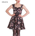 HELL BUNNY Mini Dress IDAHO Sugar Skulls Love Flowers ~ Black All Sizes