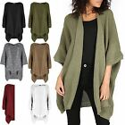 Womens Cape Cardigan Ladies Knit Batwing Top Waterfall Open Loose Poncho Sweater