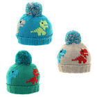 Kids Dinosaur Bobble Hat Boy's Winter Beanie Warm Blue Green & Grey Ski Hat