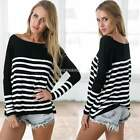 Women Long Sleeve Stripe Casual Loose Blouse Top T-shirt Pullover Sweater K0E1