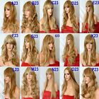 BLONDE Ladies Wig Highlight Natural Long Curly Straight Wavy Women Ladies Wig