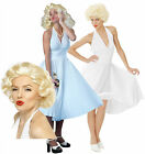 50s 60s Film Star White Halter Neck Fancy Dress Outfit 1950s 1960s Costume + Wig