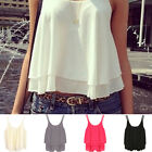 Women's Vogue Shirt Sleeveless Chiffon Blouse Loose Casual Tank Tops Vest UK