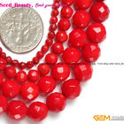 "Jewelry Making Round Faceted Red Coral Gemstone Loose Beads Strand 15""sd5306-V"