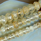 "Faceted Golden Quartz Rondelle Beads 15"" 8mm 10mm 12mm Pick Size"