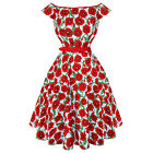 Hell Bunny Cordelia Red Blue Poppy Floral 50s Vintage Summer Prom Tea Dress