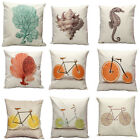 Vintage Cotton Bike Linen Pillow Case Sofa Waist Throw Cushion Cover Home Decor