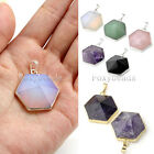 Fashion Silver/Gold-Tone Gemstone Amethyst Hexagon Healing Bead Pendant Gift