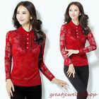 Women Lace Slim Waist Blouse Tops Delicate Lady Long Sleeve Tee Shirts M-3XL